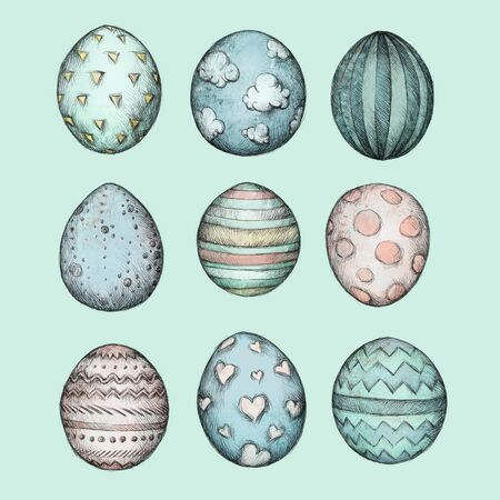osterfest: Illustration of some easter eggs with different colors