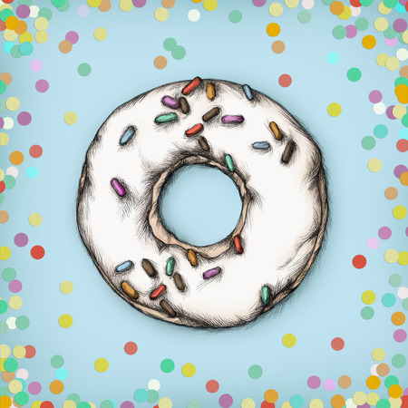 Illustration of a donut with sprinkles and frosting
