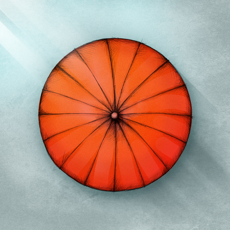 Illustration of a pop red umbrella from above