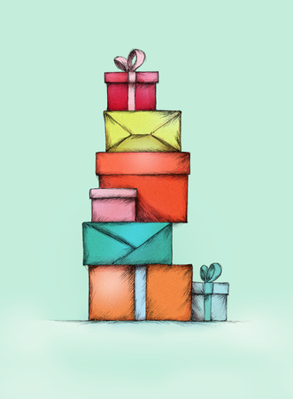 impassioned: Illustration of a Stack of gift packs in different colors