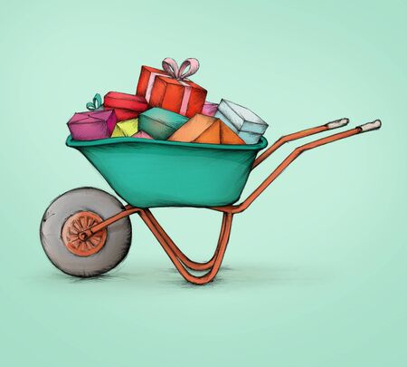 Illustration of a wheelbarrow full with colorful gift packs