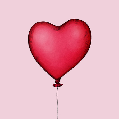 Illustration of a heart shaped red balloon
