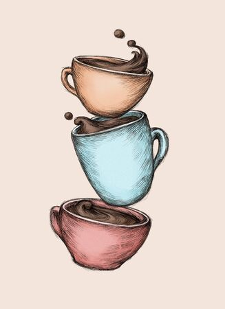 Illustration of three cups of coffee