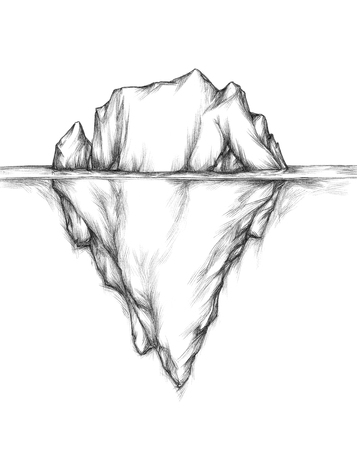Illustration of an iceberg, swimming in the water