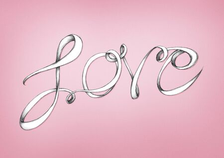 Illustration of a lettering Love Stock Photo
