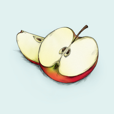 Illustration of a sliced apple Stock Photo