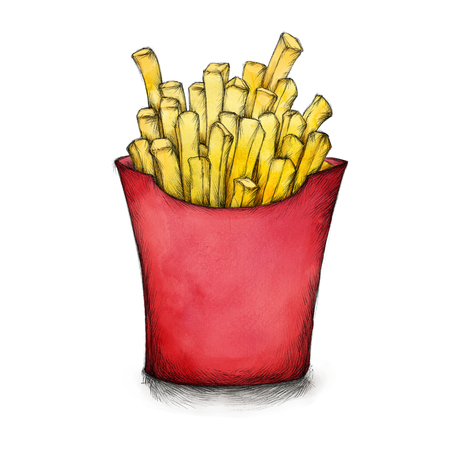 Illustration of some French fries in box