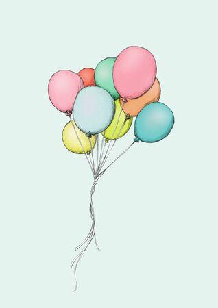 Illustratie van sommige kleurrijke ballons die in de hemel vliegen Stockfoto