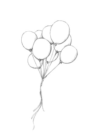 いくつかの風船が空を飛んでいるの図