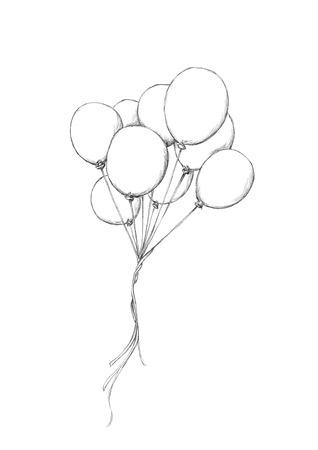Illustratie van sommige ballons die in de hemel vliegen Stockfoto