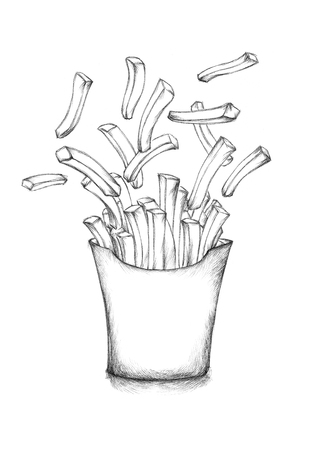 sketch out: Illustration of some Flying french fries with a box