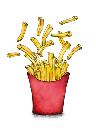 Illustration of some Flying french fries with box