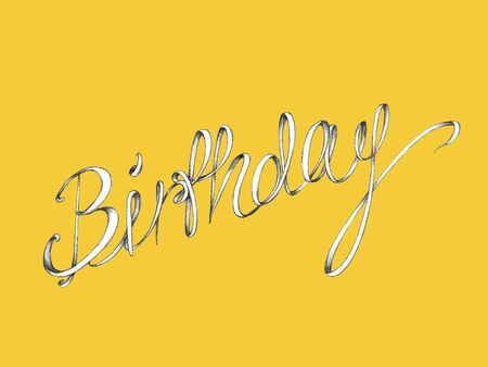 Illustration with a lettering of the word birthday