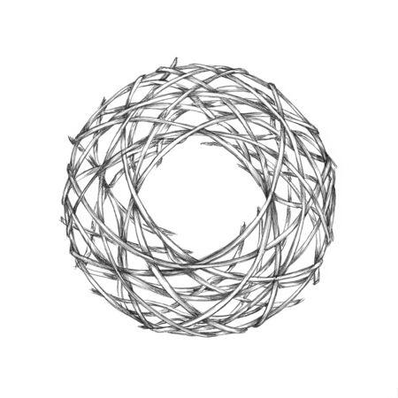 Illustratie van een eenvoudige kroon gemaakt van takken