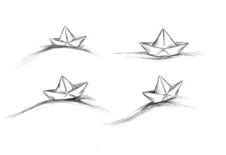 Illustration of four different paper boats