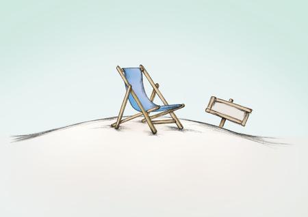 穏やかなビーチに青いデッキの椅子のイラスト