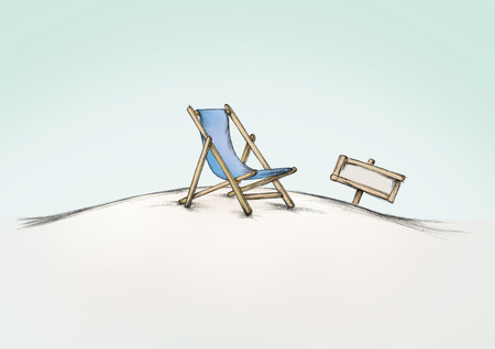 Illustration of a blue deck chair on a calm beach