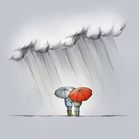 Illustration of two people in the rain with umbrellas from behind