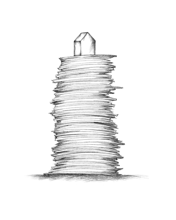 Illustration of a high paper stack with a small house on top