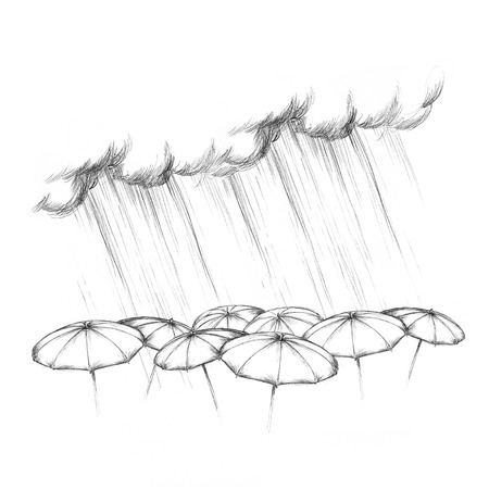 Illustration of Heavy rain falling on different umbrellas