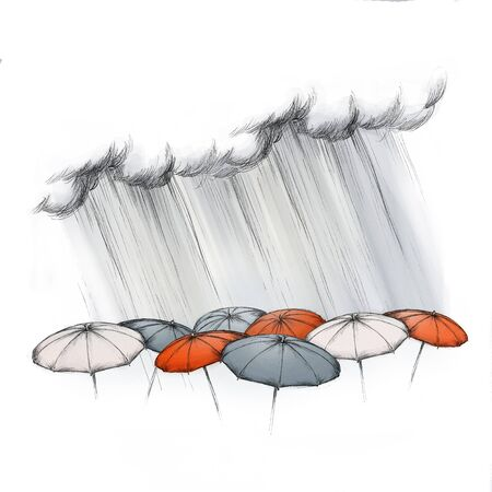 Illustration of heavy rain falling on different umbrellas Stock Photo