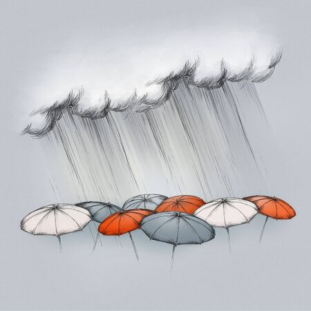 Illustration of heavy rain falling on some umbrellas in different colors on a dark grey background