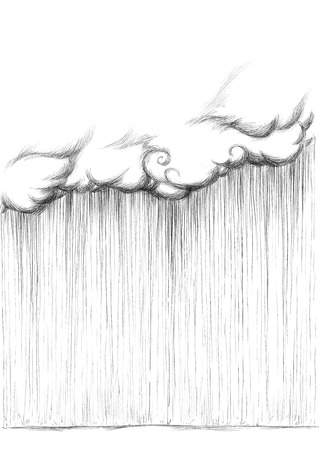 Illustration of heavy rain out of a big cloud
