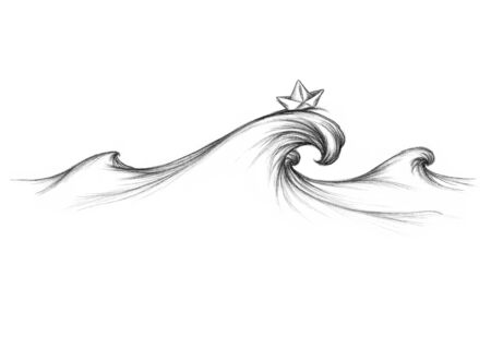 Illustration of a Wave on the sea with a paper boat on it