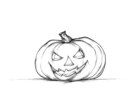 Illustration of a Simple pumpkin with halloween face