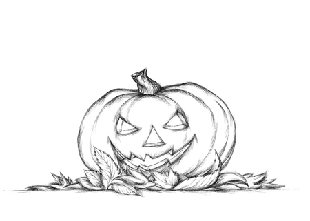 Illustration of a Pumpkin with grim face expression in autumn leaves
