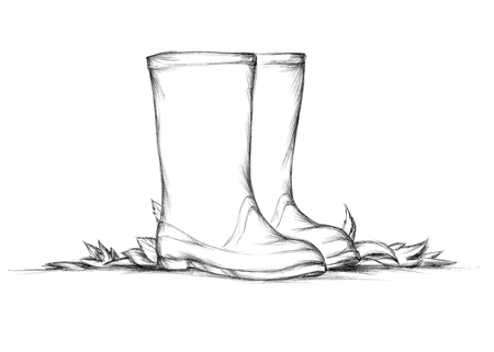 Illustration of Simple rubber boots with autumn leaves Banco de Imagens