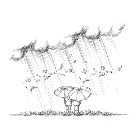 Illustration of Two people with umbrellas in autumn weather