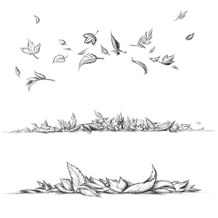 Illustration of Flying and lying leaves