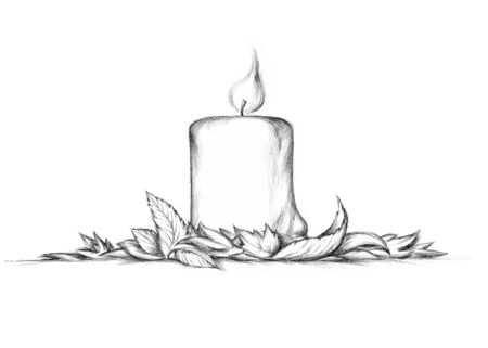 Illustration of a thick candle with autumn leaves