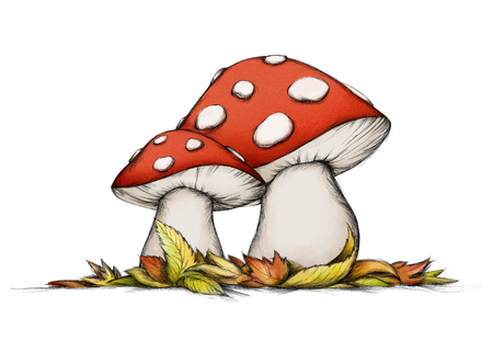 Illustration of two flying mushrooms in autumn Banco de Imagens