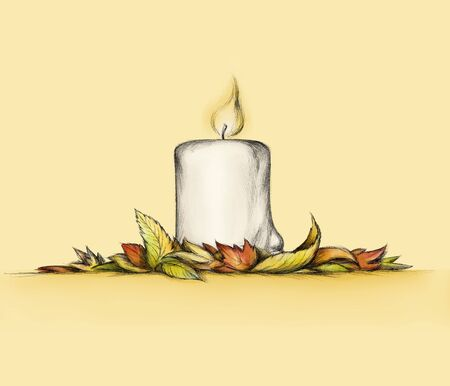 Illustration of a thick candle with autumn leaves on a bright yellow bright background