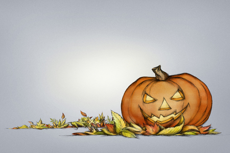 Illustration of a Pumpkin with grim face expression in autumn leaves, horizontal format