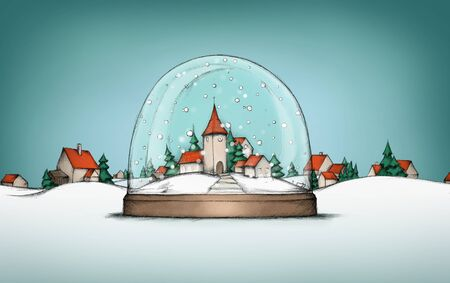 Illustration of a Village in a snow globe with village landscape in background