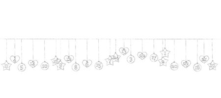 Illustration of some Advent calendar trailers hang on a leash