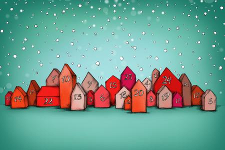 雪の中でいくつかのアドベント カレンダーのイラスト住宅します。