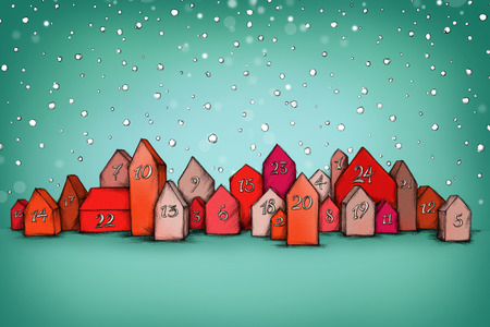 Illustration of some Advent calendar houses in the snow