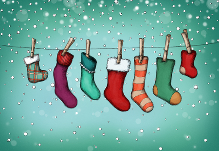 Illustration of Nikolaus stockings hanging on the clothes line