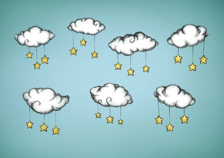 Illustration of some Clouds with attached stars
