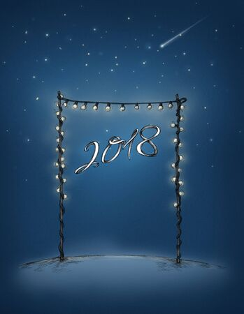 Illustration of a Gate of lights with lettering 2018