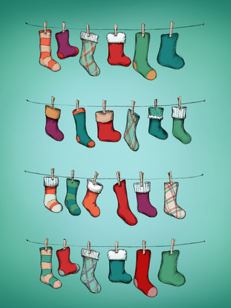 Illustration of an Advent calendar with stockings