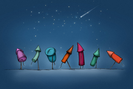Illustration of seven Colorful New Year rockets in a row