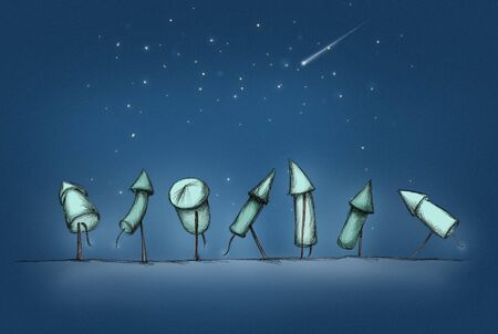 Illustration of Seven New Years Eve rockets in a row