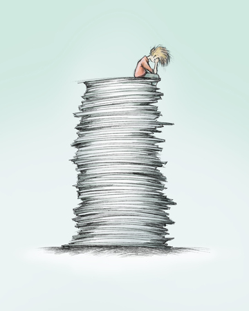 Illustration of a Person that is sitting on a high paper stack Stock Photo