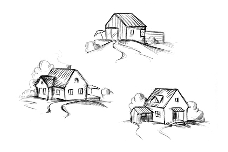 Illustration of three different houses with garden
