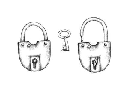 Illustration of two padlocks and a key